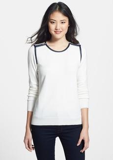 Anne Klein Faux Leather Trim Sweater