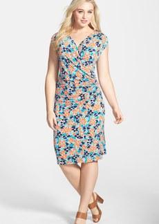 Anne Klein Floral Print Faux Wrap Dress (Plus Size)