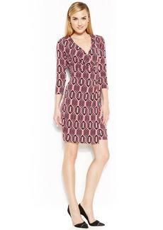 Anne Klein Geo-Print Faux-Wrap Dress