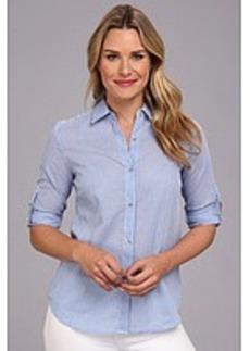 Anne Klein Gingham Roll Sleeve Shirt