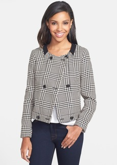 Anne Klein Glen Plaid Double Breasted Crop Jacket (Regular & Petite)