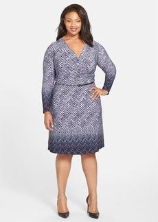 Anne Klein Herringbone Print Faux Wrap Dress (Plus Size)