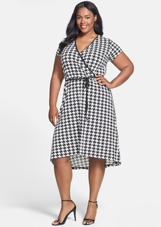 Anne Klein Houndstooth Print Cap Sleeve Faux Wrap Dress (Plus Size)
