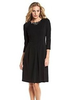 Anne Klein® Jewel Neck Cool Knit Fit And Flare Dress