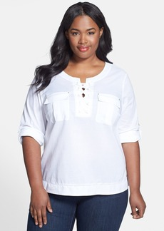 Anne Klein Lace-Up Cotton Top (Plus Size)