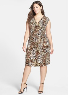 Anne Klein Leopard Print Stretch Knit Dress (Plus Size)