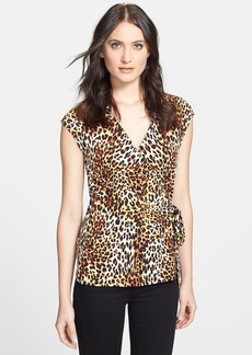 Anne Klein Leopard Print Wrap Top (Petite)