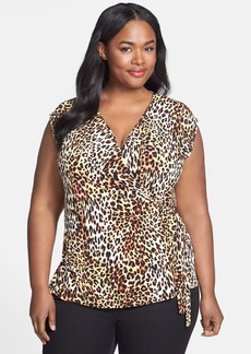 Anne Klein Leopard Print Wrap Top (Plus Size)
