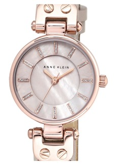 Anne Klein Mother-of-Pearl Dial Leather Strap Watch, 26mm