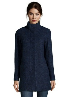 Anne Klein navy and black boucle wool blend button front coat