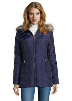Anne Klein navy quilted down filled faux fur hooded zip front jacket