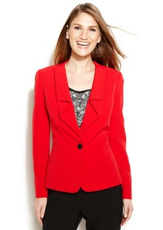 Anne Klein Petite Single-Button Ruffle-Lapel Jacket