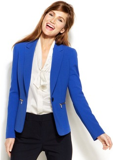 Anne Klein Petite Single-Button Zip-Pocket Blazer