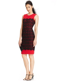 Anne Klein Petite Sleeveless Lace Colorblock Sheath