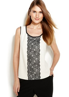 Anne Klein Petite Sleeveless Lace-Panel Blouse