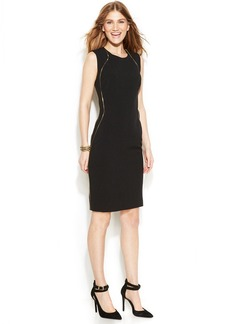 Anne Klein Petite Sleeveless Zip-Detail Sheath