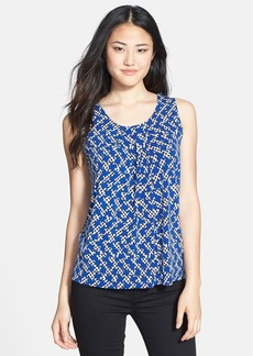 Anne Klein Pleat Neck Houndstooth Print Sleeveless Top