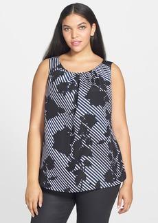 Anne Klein Pleat Neck Stripe Print Shell (Plus Size)