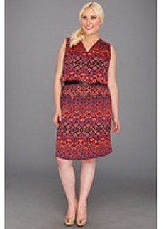 Anne Klein Plus Plus Size Ikat Print V-Neck Dress