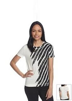 Anne Klein® Printed Short Sleeve Sweater
