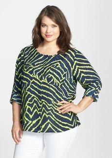 Anne Klein Reef Print Roll Sleeve Shirt (Plus Size)
