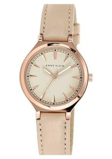 Anne Klein Round Leather Strap Watch, 34mm