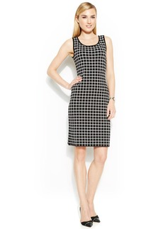 Anne Klein Sleeveless Geo-Print Sweater Dress