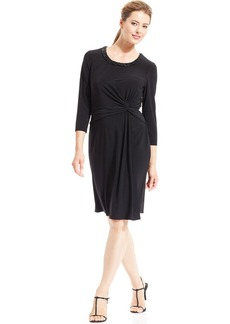 Anne Klein Three-Quarter-Sleeve Beaded-Neck Draped Dress