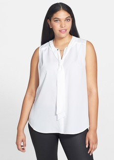 Anne Klein Tie Neck Sleeveless Blouse (Plus Size)