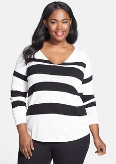 Anne Klein V-Neck Intarsia Sweater (Plus Size)
