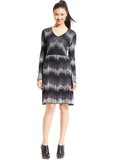 Anne Klein V-Neck Patterned Sweater Dress