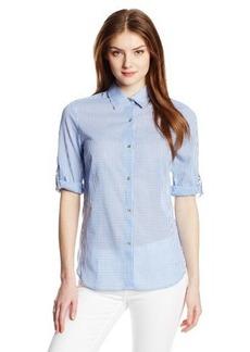 Anne Klein Women's Gingham Roll Sleeve Shirt
