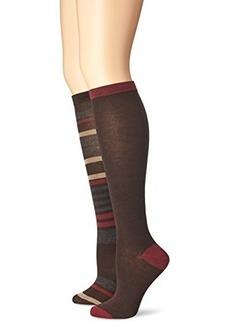 Anne Klein Women's Multi Stripe 2 Pack Premium Blend Knee High Socks