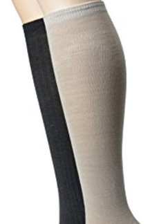 Anne Klein Women's Solid Rib 2 Pack Knee High Socks