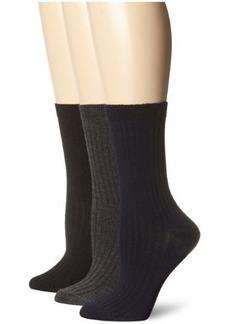 Anne Klein Women's Three-Pair Pack Rib Crew Socks
