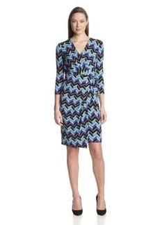 Anne Klein Women's Three-Quarter Sleeve Jersey Sarong Dress