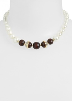 Anne Klein Wood & Glass Pearl Collar Necklace