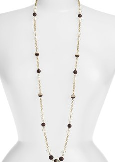 Anne Klein Wood & Glass Pearl Long Station Necklace