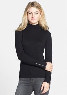 Anne Klein Zip Cuff Cotton Blend Turtleneck Sweater (Regular & Petite)