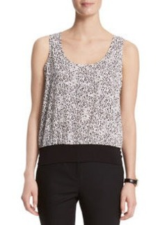 Dot Print Scoop Neck Blouse