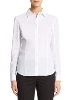 Eyelet Button Front Shirt