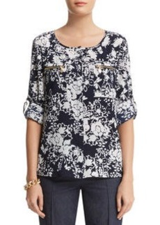 Floral Print Roll Sleeve Shirt