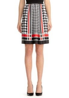 Houndstooth Pleated Skirt