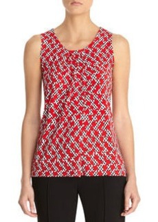 Houndstooth Print Pleat Neck Top