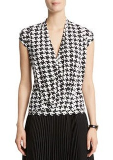 Houndstooth Print Wrap Top