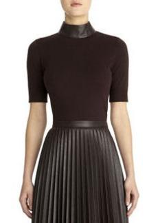Imitation leather mock neck pullover