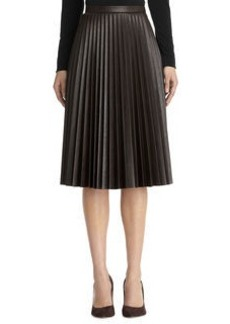Imitation leather pleated skirt
