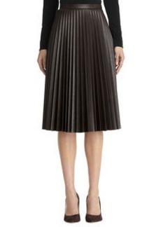 Imitation leather pleated skirt