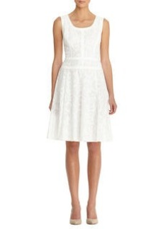 Lace & Cotton Sateen V Neck Banded Swing Dress