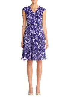 Print Inverted Pleats Seam Detail Dress